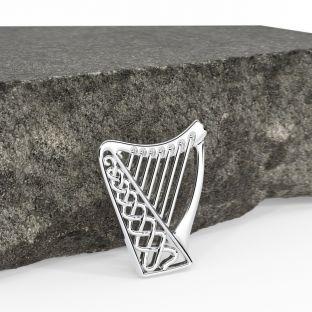 Silver Celtic Harp Brooch