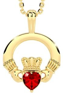 "Gold Red Garnet Irish ""Claddagh"" Pendant Necklace - January Birthstone"