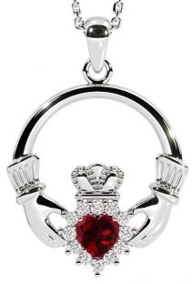 January Birthstone Silver Claddagh Pendant