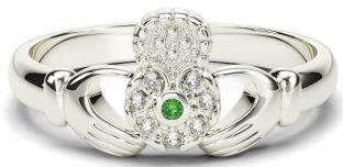 Ladies Emerald Diamond Silver Claddagh Celtic Knot Ring