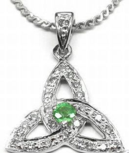 "White Gold Genuine Diamond .15cts Genuine Emerald .10cts ""Celtic Knot"" Pendant Necklace"