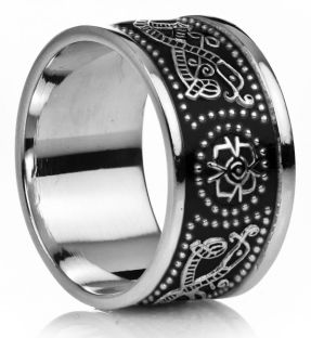 "12mm Extra Wide Mens White Gold Black Rhodium Celtic ""Warrior"" Band Ring"