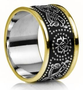 "12mm Extra Wide Mens White & Yellow Gold Black Rhodium Celtic ""Warrior"" Band Ring"
