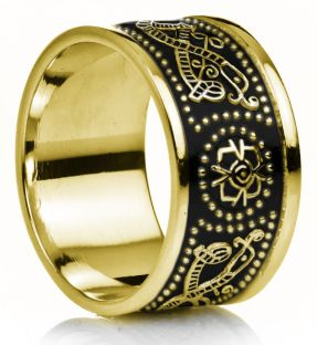 "12mm Extra Wide Mens 14K Gold over Silver Black Rhodium Celtic ""Warrior"" Band Ring"