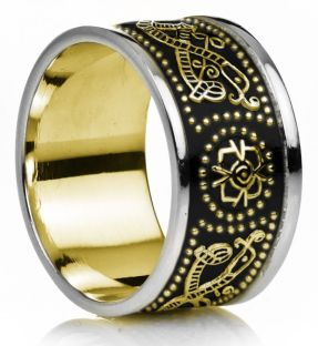 "12mm Extra Wide Mens Yellow & White Gold Black Rhodium Celtic ""Warrior"" Band Ring"