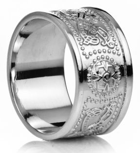 "12mm Extra Wide Mens White Gold Celtic ""Warrior"" Band Ring"