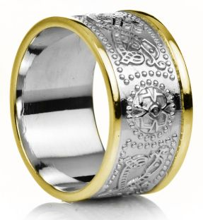 "12mm Extra Wide Mens Two Tone Gold over Silver Celtic ""Warrior"" Band Ring"