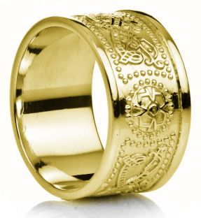 "12mm Extra Wide Mens Gold Celtic ""Warrior"" Band Ring"
