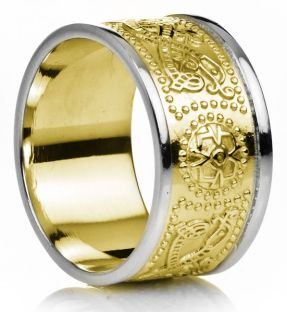 "12mm Extra Wide Mens Yellow & White Gold Celtic ""Warrior"" Band Ring"