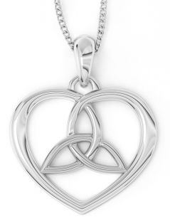 "14K White & Yellow Gold Irish ""Celtic Knot"" Heart Pendant Necklace"