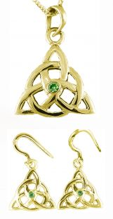 "14K Gold Genuine Emerald Irish ""Celtic Knot"" Dangle Earrings & Necklace Set"
