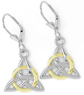 "14K White & Yellow Gold coated Silver Irish ""Celtic Knot"" Dangle Earrings"
