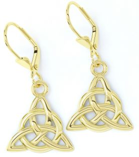 "14K Gold coated Silver Irish ""Celtic Knot"" Dangle Earrings"