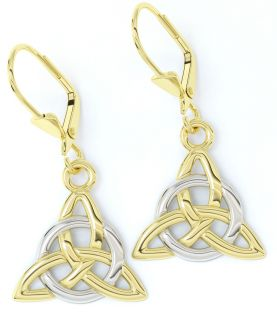 "14K Two Tone Gold Solid Silver Irish ""Celtic Knot"" Earrings"