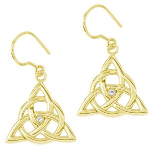 "Gold Genuine Diamond ""Celtic Knot"" Dangle Earrings"