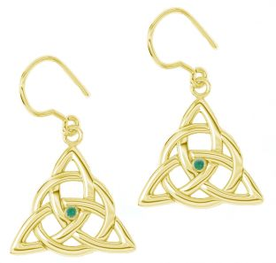 "14K Gold coated Solid Silver Irish Genuine Emerald ""Celtic Knot"" Dangle Earrings"