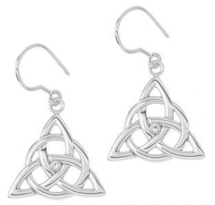 "14K White Gold Solid Silver Irish Genuine Diamond ""Celtic Knot"" Dangle Earrings"