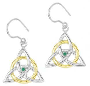 "14K White & Yellow Gold coated Solid Silver Irish Genuine Emerald ""Celtic Knot"" Dangle Earrings"