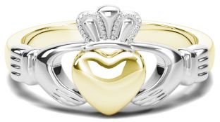 Classic Ladies White & Yellow Gold Claddagh Ring