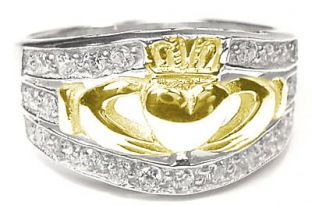 White & Yellow Gold Ladies Diamond .35 cts Claddagh Ring