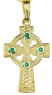 "14k Yellow Gold coated Silver Emerald ""Celtic Cross"" Pendant Necklace"