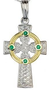 """14k White & Yellow Gold coated Silver Emerald """"Celtic Cross"""" Pendant Necklace"""