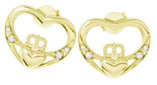"14K Gold coated Silver Diamond Irish ""Claddagh"" Stud Earrings"