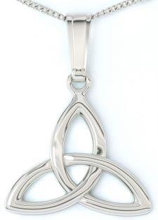 "White Gold ""Celtic Knot"" Pendant Necklace"