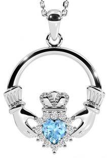 Aquamarine Silver Claddagh Pendant