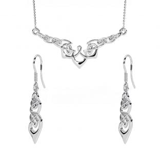 Silver Celtic Dangle Earrings + Necklace Set
