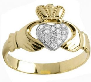 Mens Gold Diamond .13cts Claddagh Ring