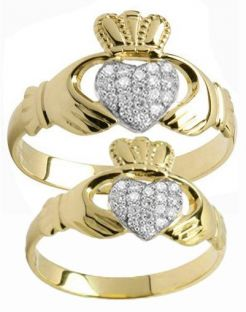 Gold Diamond .22cts Claddagh Ring Set