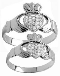 White Gold Diamond .22cts Claddagh Ring Set