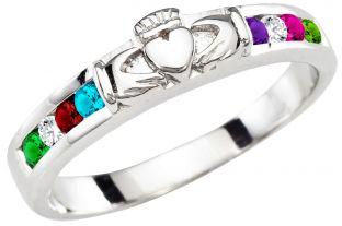 Mother's Diamond Birthstone Silver Claddagh Ring