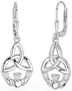 "Silver Celtic ""Claddagh"" Dangle Earrings"