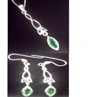 Silver Emerald Celtic Earrings & Pendant Set