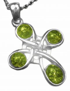 "14K White Gold Genuine Emerald .08cts ""Celtic Cross"" Pendant"
