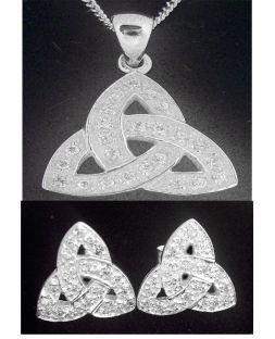 """Silver Irish """"Celtic Knot"""" Earrings & Pendant Set"""