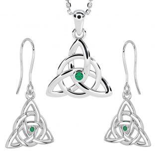 "14K White Gold Silver Genuine Emerald Irish ""Celtic Knot"" Dangle Earrings & Necklace Set"