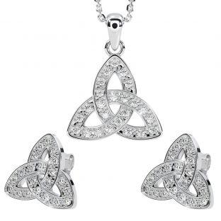 "Silver Diamond Irish ""Celtic Knot"" Stud Earrings & Pendant Necklace Set"