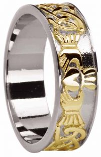 Mens White & Yellow Gold Celtic Claddagh Band Ring