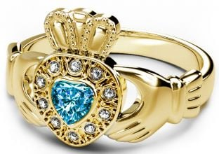 10K/14K/18K Gold Genuine Diamond .13cts Genuine Aquamarine.25cts Claddagh Engagement Ring - March Birthstone