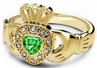 10K/14K/18K Yellow Gold Genuine Diamond .13cts and Genuine Emerald .25cts Celtic Claddagh Ring