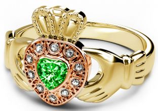 10K/14K/18K Two Tone Yellow and Rose Gold Genuine Diamond .13cts and Genuine Emerald .25cts Celtic Claddagh Ring