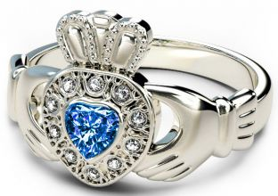10K/14K/18K White Gold Genuine Diamond .13cts Genuine Sapphire .25cts Claddagh Engagement Ring
