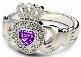 10K/14K/18K White Gold Genuine Diamond .13cts Genuine Amethyst .25cts Claddagh Engagement Ring - February Birthstone