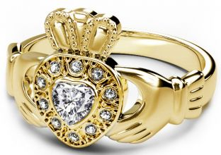 10K/14K/18K Yellow Gold Diamond Celtic Claddagh Ring