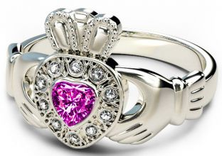 10K/14K/18K White Gold Genuine Diamond .13cts Tourmaline .25cts Claddagh Engagement Ring - October Birthstone