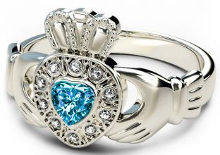 10K/14K/18K White Gold Genuine Diamond .13cts Genuine Aquamarine.25cts Claddagh Engagement Ring - March Birthstone