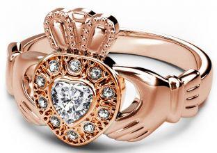 10K/14K/18K Rose Gold Genuine Diamond .38cts Claddagh Ring - April Birthstone